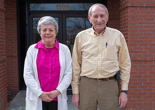 Theresa Pierce, accounts payable and Lloyd Evans, hiring/training administrator celebrate 50 years with Watson Electrical Construction Co. LLC.